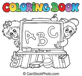 libro colorear, con, escuela, imágenes, 2