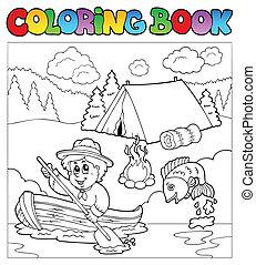 libro colorear, con, explorador, en, barco