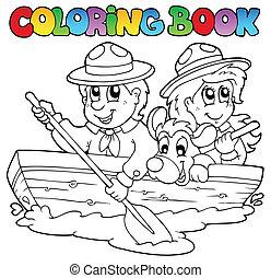 libro colorear, con, exploradores, en, barco