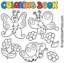 libro colorear, con, mariposas, 1
