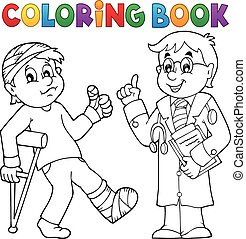 libro colorear, con, paciente, y, doctor