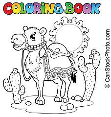 libro colorear, desierto, con, camello, 1