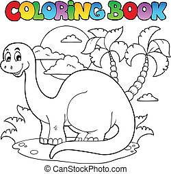libro colorear, dinosaurio, escena, 1