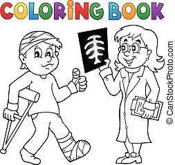 libro colorear, doctor, asistir, paciente