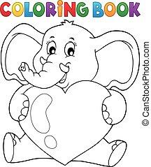 libro colorear, elefante, tenencia, corazón