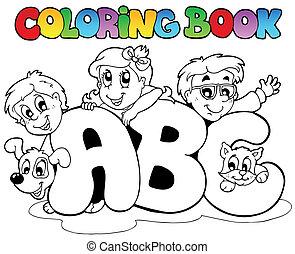libro colorear, escuela, abc, cartas