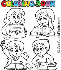 libro colorear, escuela, topic, 4