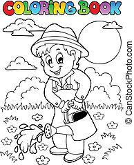 libro colorear, jardinero, jardín