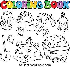 libro colorear, minería, colección, 1