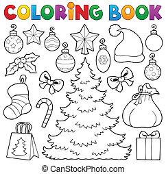 libro colorear, navidad, decoración, 1