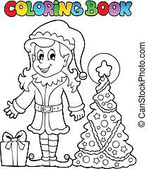 libro colorear, navidad, duende, tema, 3