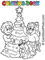 libro colorear, navidad, topic, 3