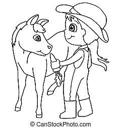 libro colorear, niño, alimentación, caballo, v