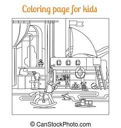 libro colorear, página, niños
