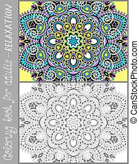libro colorear, página, para, adultos, -, flor, diseño de...