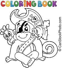 libro colorear, pirata, mono