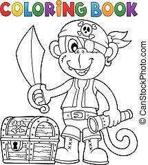 libro colorear, pirata, mono, imagen, 2