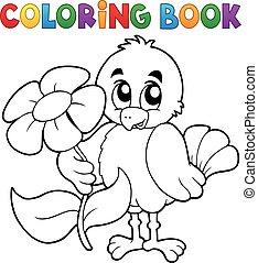 libro colorear, pollo, con, flor