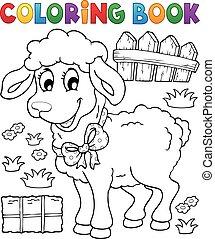 libro colorear, sheep, tema, 3