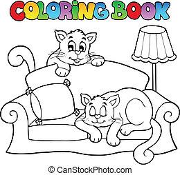 libro colorear, sofá, con, dos, gatos
