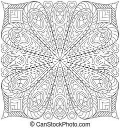 libro colorear, template., página, adulto
