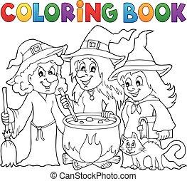 libro colorear, tres, brujas