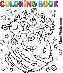 libro colorear, tres, extranjeros, en, planeta