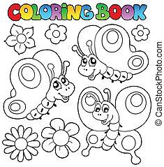 libro colorear, tres, mariposas