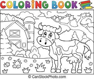 libro colorear, vaca, cerca, granja, tema, 1