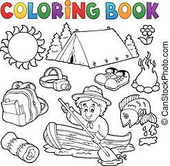 libro colorear, verano, al aire libre, colección