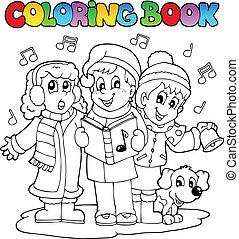 libro colorear, villancico, canto, tema, 1