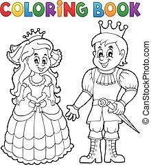 libro, coloritura, principe, principessa