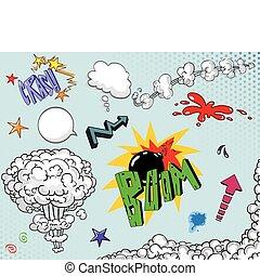 libro comic, elementi, due