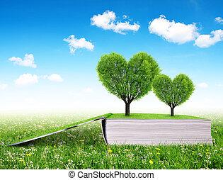 libro, con, árboles, en, el, forma, de, corazón