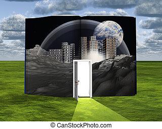 libro, con, ciencia ficción, escena, y, abierto, puerta, de...