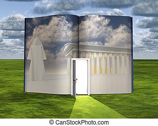libro, con, fantascienza, scena, e, aperto, porta, luce