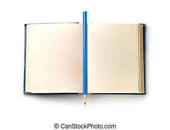 libro, con, lápiz, aislado, blanco