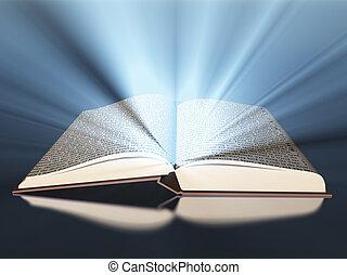 libro, con, luz
