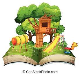 libro, con, patio de recreo, en el parque