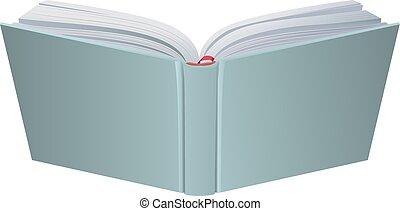 libro copertina dura, realistico, vettore, libro aperto, 3d