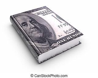 libro, cubierto, con, 100, nosotros, dollar.