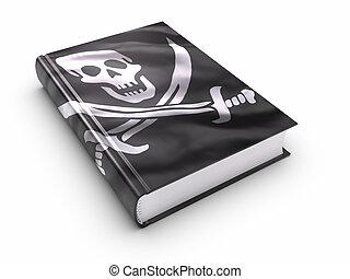 libro, cubierto, con, piratas, bandera