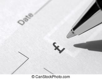 libro de cheque, y, pluma