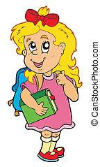 libro de la escuela, verde, niña