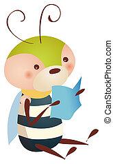 libro de lectura, abeja