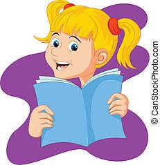 libro de lectura, caricatura