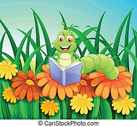 libro de lectura, jardín, gusano