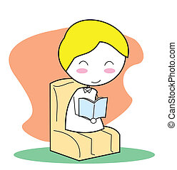 libro de lectura, niño