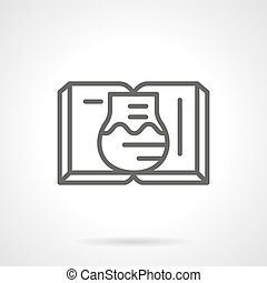 libro de texto, en, química, línea plana, vector, icono