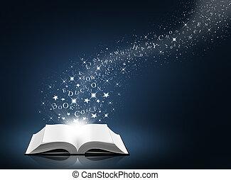 libro de texto, estrella, nieve, abierto